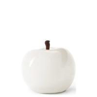 Designobjekt Apfel weiß Keramik lasiert glänzend handgefertigt Wohnaccessoire Dekoration Chapeau Marén Hamburg Hafencity Elbphilharmonie