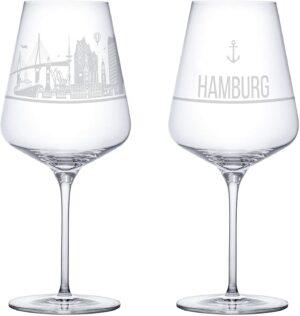 Weinglas Gläser I love Hamburg Kristall Souvenir Tischkultur Wohnaccessoire Dekoration Chapeau Marén Tom und Konsorten Hamburg Hafencity Elbphilharmonie
